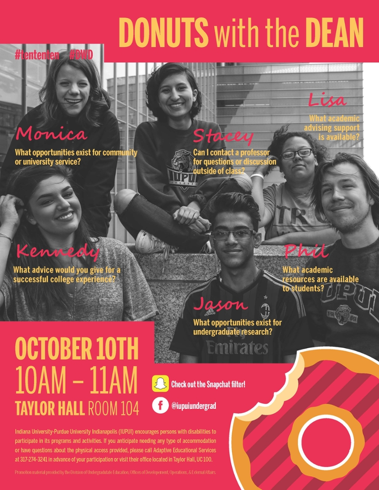 Donuts with the dean promotional flyer. October 10th 10am until 11am in Taylor Hall, room 104.