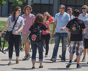 A photo of students walking at orientation.